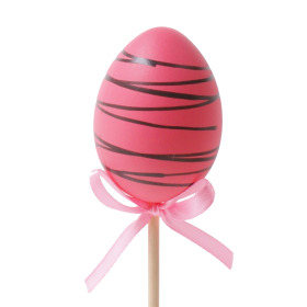 Chocolate Egg 6cm on 50cm stick pink