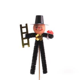 Schoorsteenveger 8cm op 15cm stok zwart