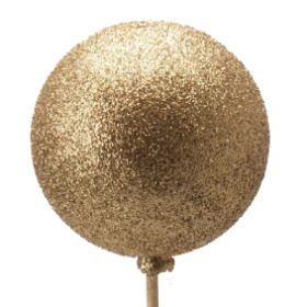 Xmas Ball Glitter 2.5in on 20in stick gold