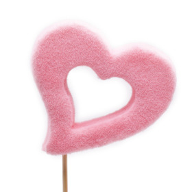 Open Heart Desire 10cm on 50cm stick pink