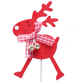Reindeer Bells 8cm on 10cm stick red