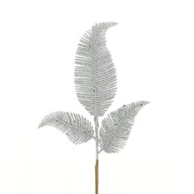 Christmas leaf Blizz 24cm on 45cm stick silver
