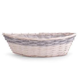 Canoe basket Braze 36x16 H10cm white