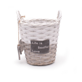 Basket Beautiful Life Ø15 H13cm gray/white