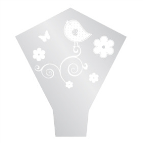 Sleeve Frosted Birdy 54x35x10cm white