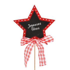 Star  Joyeuses Fêtes 6cm on 15cm stick red