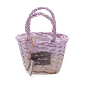 Handbag Beautiful Life 19x11H13cm purple/grey