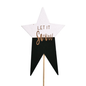 Star Let it Snow 7x11cm on 50cm stick black
