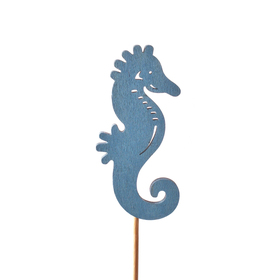 Sea horse June 8cm on 50cm stick blue