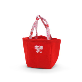 Carrybag Butterfly Felt 12.5x11.5x14.5cm red