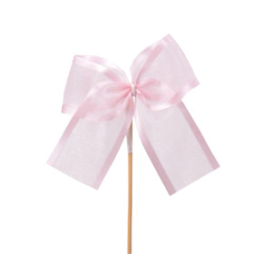 Ribbon Organza Stripe 10cm on 15cm stick pink