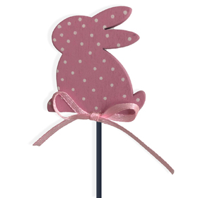 Easter Bunny Dots Small Pick on 8in stick pink