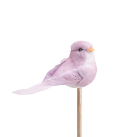 Bird Bibi 10cm on 50cm stick lilac
