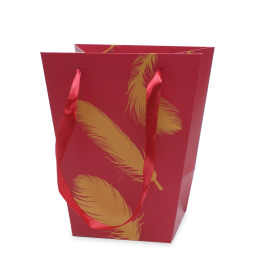 Carrybag Golden Feathers 17/13x11/11x20cm red