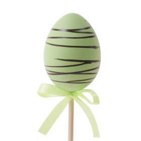 Chocolate Egg 6cm on 50cm stick green