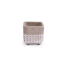 Ceramic Pot Filigree 8.5x8.5 H8cm deep silver