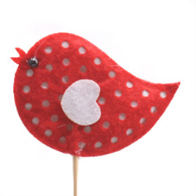 Birdy Felt 7cm on 50cm stick red