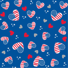 I Love Usa 20x20 in W/ blue Back