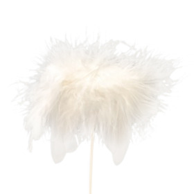 Christmas Angelwings 7.5cm on 50cm stick white