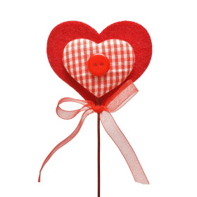 Heart Button 7cm on 50cm stick red