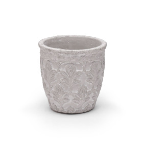Pot Fleur de Lis Ø6 H5.5 in white washed