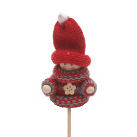 Winter Doll Scotty 6.5cm on 50cm stick red/gray
