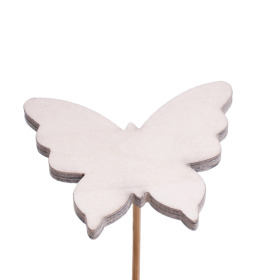 Baby Butterfly 4.5cm on 10cm stick white