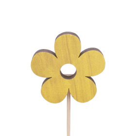 Flower Power 6cm on 10cm stick yellow