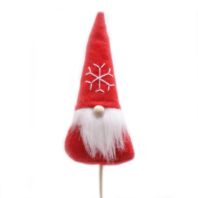 Christmas Santi 10cm on 50cm stick red