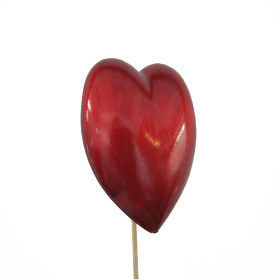 Heart Oblique 7cm on 50cm stick red