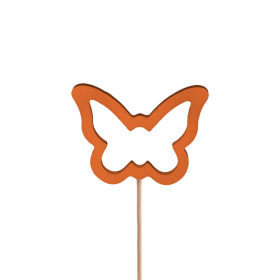 Butterfly Melissa 7.5cm on 50cm stick orange