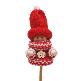 Winter Doll Scotty 6.5cm on 10cm stick red/white