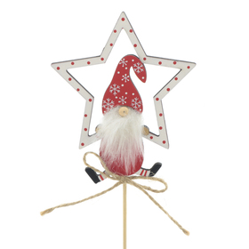 Christmas Gnome Finley 11cm on 50cm stick FSC Mix red