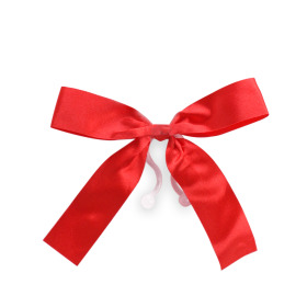 Plastic bow 10cm with clip red