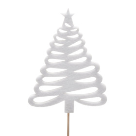 Christmas Tree 'X' 7x9,5cm on 10cm stick white