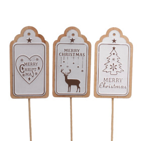Christmas label 8.5cm on 10cm stick white assorted