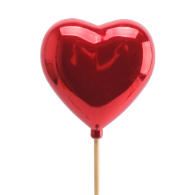 Pearly heart 6.5cm on 50cm stick red