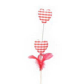 Feathers and Hearts 16cm on 30cm stick red