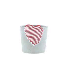Beton pot Love Signature ES9 rood