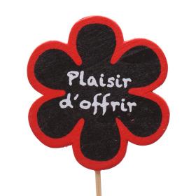 Wooden Flower Plaisir d'offrir 6cm on 15cm stick red