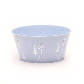 Zinc Oval X-Mas Tree 19x13.5xH10cm ice blue