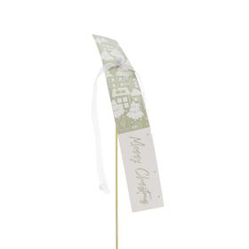 Card X-mas Village 25x3.5cm on 50cm stick FSC Mix 70% green