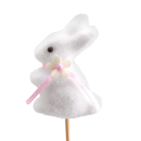 Bunny With Bow 2.75 in on 20 in stick white