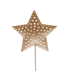 Star Rustic Ø 6.5cm on 10cm stick gold