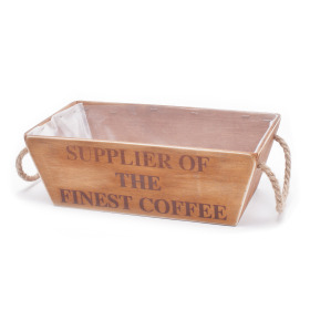"Wooden Crate ""Finest Coffee"" 12.2x7.1 in natural"