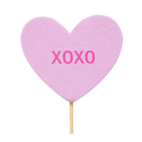 Candy Heart 3 in on 20 in stick light pink
