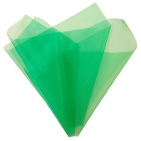 Organza 20x28in green with 3in hole