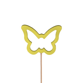 Butterfly Melissa 7.5cm on 50cm stick yellow