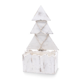 Wooden planter 16,5x10,5cm with Christmas tree TH33 white