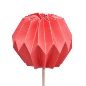Pompon 7.5cm on 50cm stick red